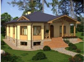 """Проект одноэтажного дома """"Плаус"""" Фасад 1"""