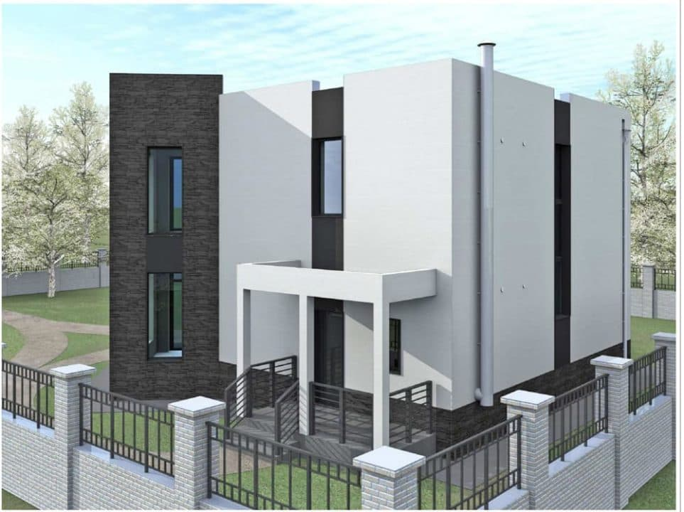 """Проект ультрасовременного дома """"Аданос"""" (150 м2) - Фасад 1"""