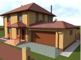 """Проект двухэтажного дома с гаражом """"Ноктис"""" - Фасад 1"""