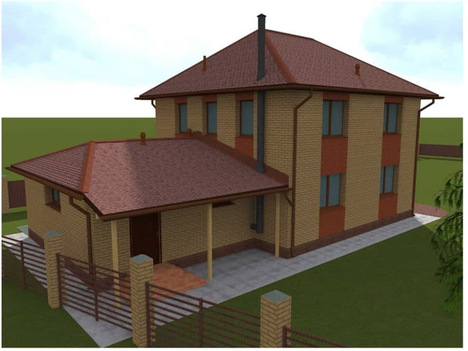 """Проект двухэтажного дома с гаражом """"Ноктис"""" - Фасад 2"""