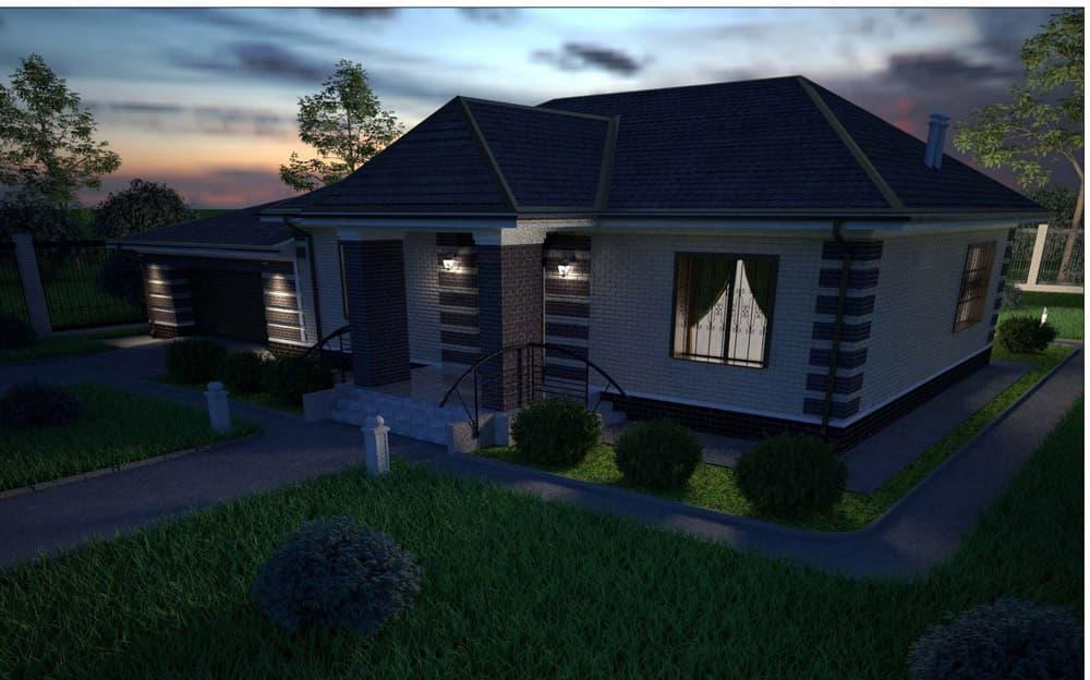 """Проект одноэтажного дома """"Кратос"""" с гаражом на два автомобиля - Фасад 2"""