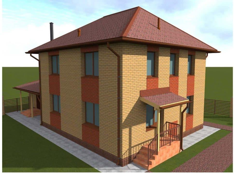 """Проект двухэтажного дома с гаражом """"Ноктис"""" - Фасад 3"""