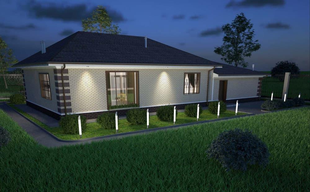 """Проект одноэтажного дома """"Кратос"""" с гаражом на два автомобиля - Фасад 3"""