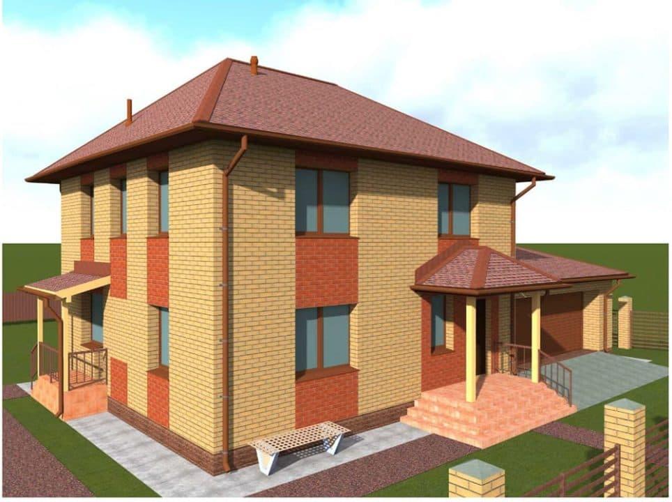 """Проект двухэтажного дома с гаражом """"Ноктис"""" - Фасад 4"""