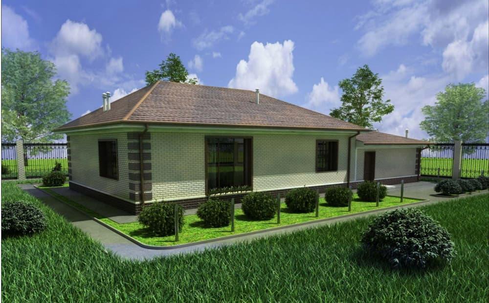 """Проект одноэтажного дома """"Кратос"""" с гаражом на два автомобиля - Фасад 4"""