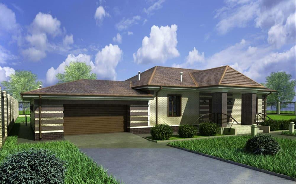 """Проект одноэтажного дома """"Кратос"""" с гаражом на два автомобиля - Фасад 6"""