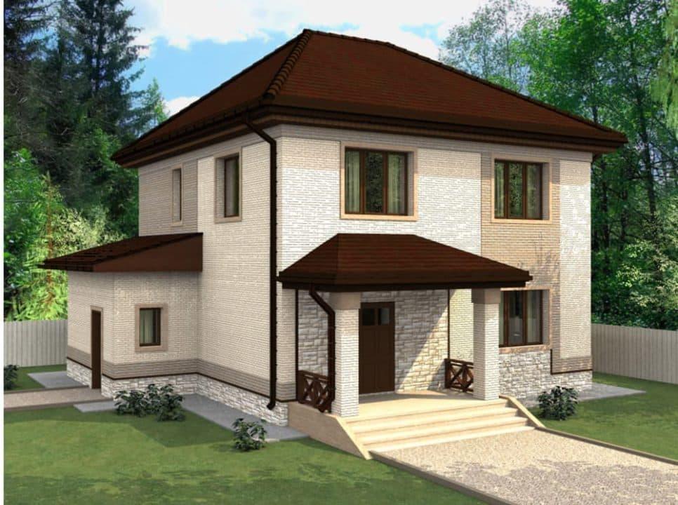 "Проект двухэтажного дома ""Вайтлод"" с фасадом из кирпича (135 м2) - Фасад 2"
