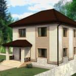 "Проект двухэтажного дома ""Вайтлод"" с фасадом из кирпича (135 м2) - Фасад 1"