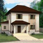 "Проект двухэтажного дома ""Вайтлод"" с фасадом из кирпича (135 м2) - Фасад 3"