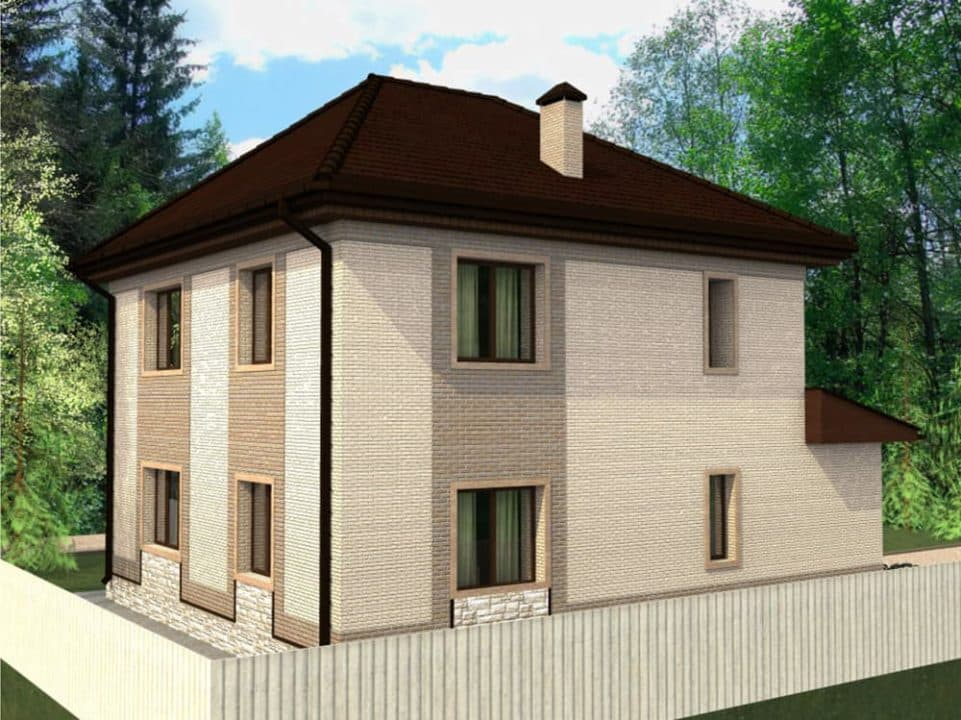 "Проект двухэтажного дома ""Вайтлод"" с фасадом из кирпича (135 м2) - Фасад 4"