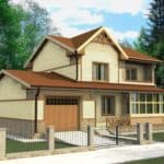 """Проект двухэтажного дома """"Блурок"""" с цокольным этажом (200 м2) - Фасад 2"""