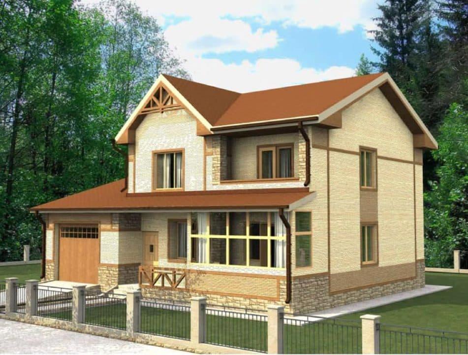 """Проект двухэтажного дома """"Блурок"""" с цокольным этажом (200 м2) - Фасад 1"""