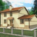 """Проект двухэтажного дома """"Блурок"""" с цокольным этажом (200 м2) - Фасад 3"""