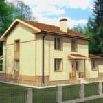 """Проект двухэтажного дома """"Блурок"""" с цокольным этажом (200 м2) - Фасад 4"""