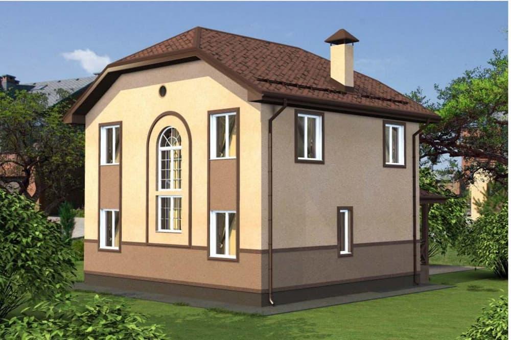 """Проект двухэтажного дома """"Иннос"""" (125 м2) - Фасад 3"""