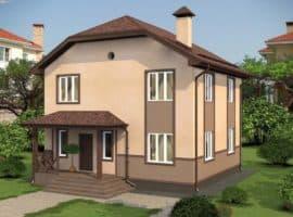 """Проект двухэтажного дома """"Иннос"""" (125 м2) - Фасад 1"""