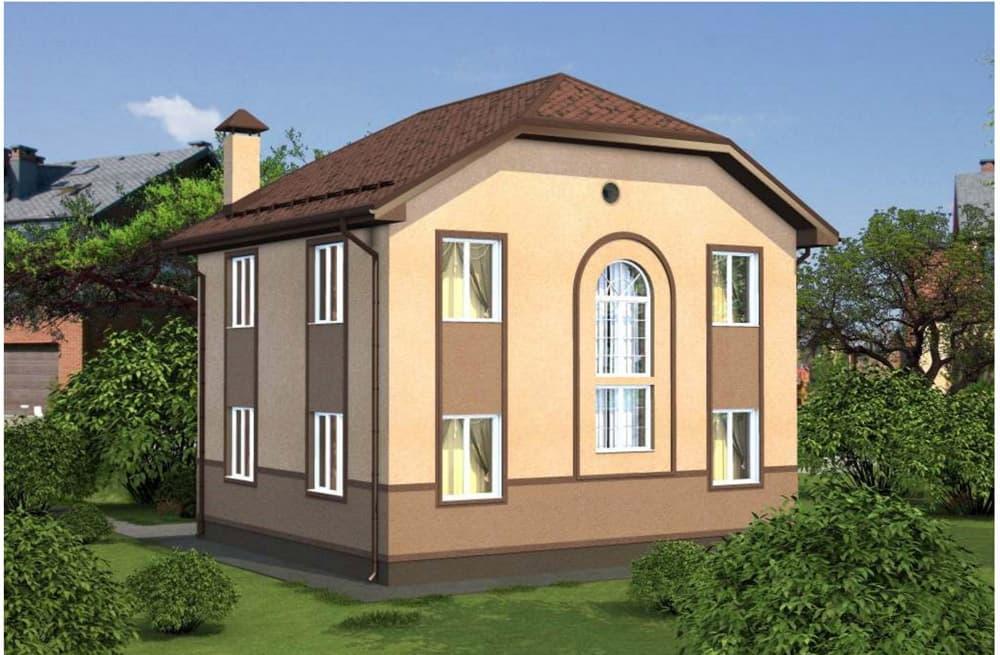 """Проект двухэтажного дома """"Иннос"""" (125 м2) - Фасад 2"""