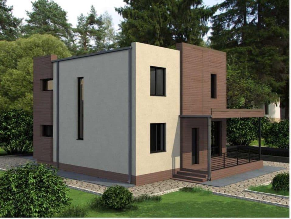 """Проект двухэтажного дома """"Калифорния"""" в современном стиле (154 кв. м.) - Фасад 4"""