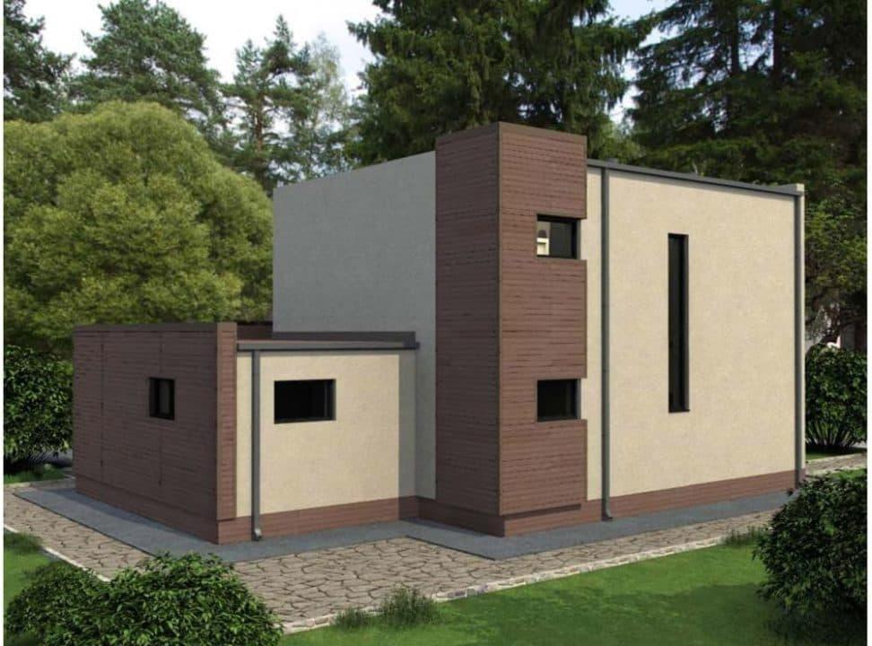 """Проект двухэтажного дома """"Калифорния"""" в современном стиле (154 кв. м.) - Фасад 3"""