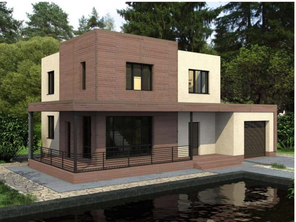 """Проект двухэтажного дома """"Калифорния"""" в современном стиле (154 кв. м.) - Фасад 2"""