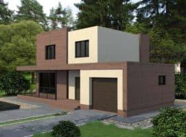 """Проект двухэтажного дома """"Калифорния"""" в современном стиле (154 кв. м.) - Фасад 1"""