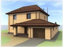 """Проект двухэтажного дома """"Мейкрай"""" с кирпичным фасадом - Фасад 1"""