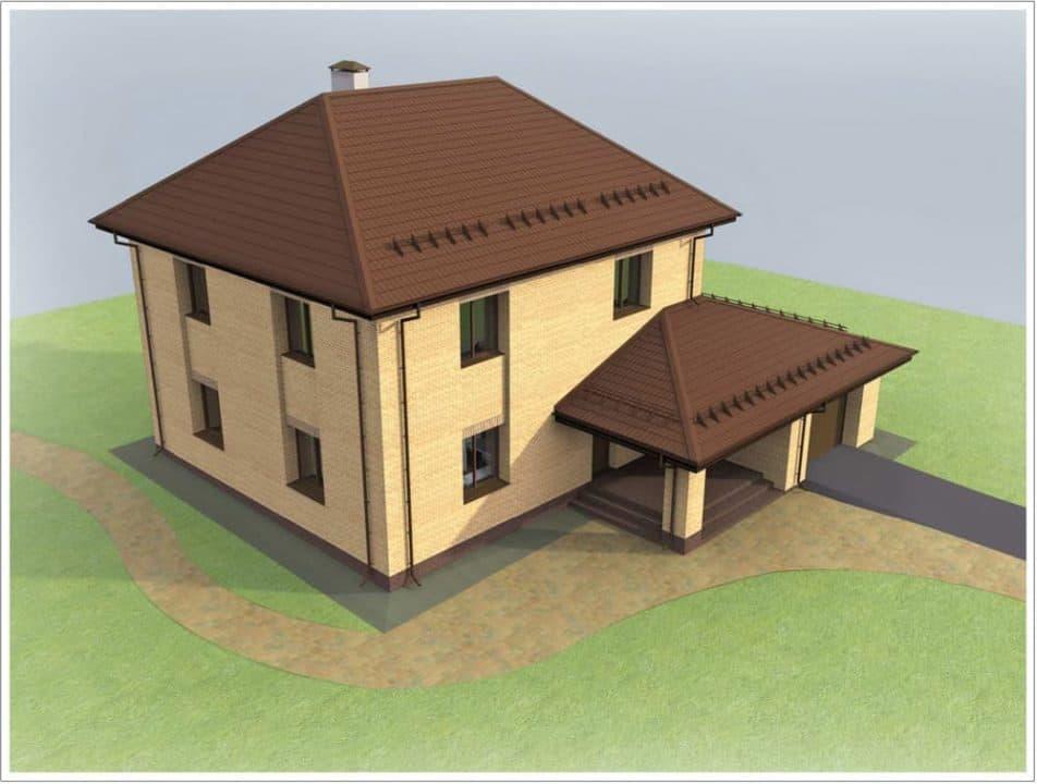 """Проект двухэтажного дома """"Мейкрай"""" с кирпичным фасадом - Фасад - 2"""