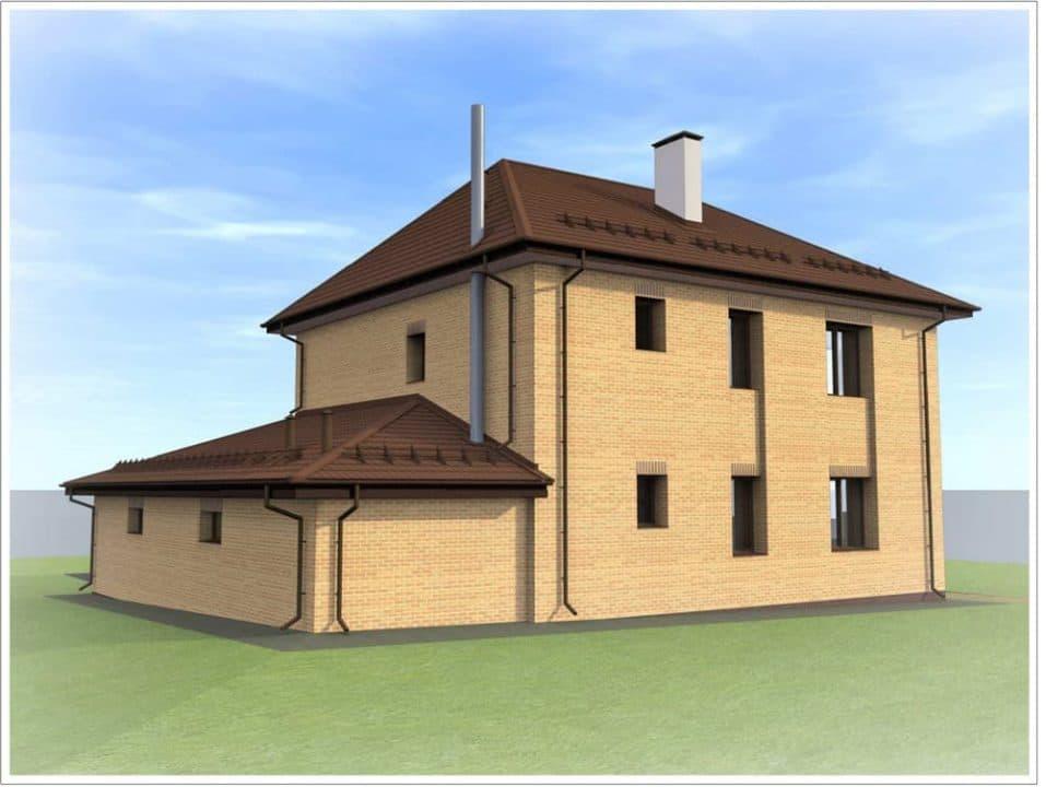 """Проект двухэтажного дома """"Мейкрай"""" с кирпичным фасадом - Фасад - 3"""