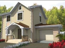 """Проект двухэтажного дома с гаражом """"Глариз"""" (167 м2) - Фасад 1"""