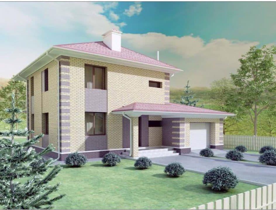 """Проект двухэтажного дома """"Рамира"""" с гаражом (148 м2) - Фасад 5"""