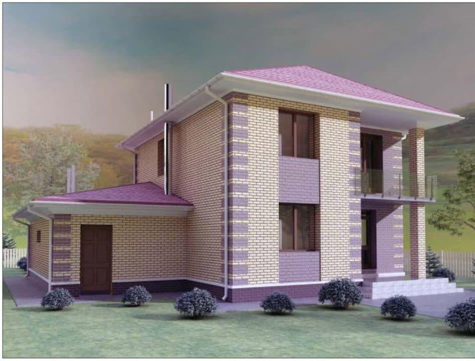 """Проект двухэтажного дома """"Рамира"""" с гаражом (148 м2) - Фасад 4"""