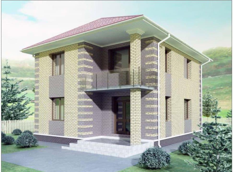 """Проект двухэтажного дома """"Рамира"""" с гаражом (148 м2) - Фасад 3"""