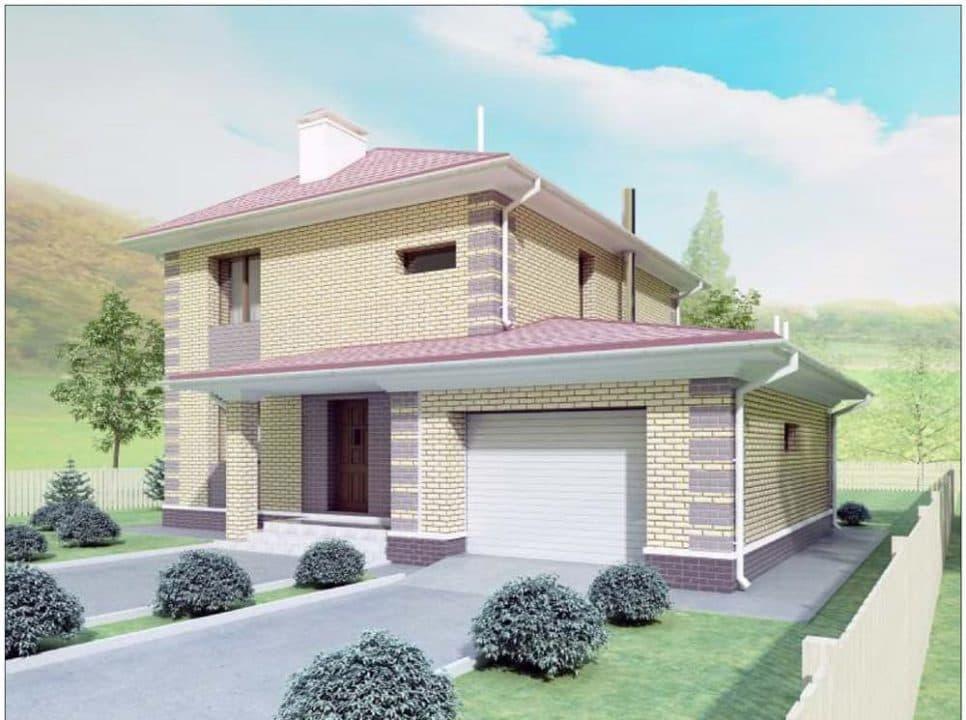 """Проект двухэтажного дома """"Рамира"""" с гаражом (148 м2) - Фасад 1"""