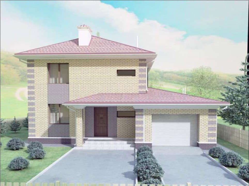 """Проект двухэтажного дома """"Рамира"""" с гаражом (148 м2) - Фасад 2"""