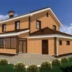 """Проект двухэтажного дома с гаражом и верандой """"Маздар"""" (213 м2) - Фасад 1"""
