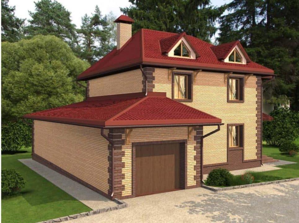 """Проект яркого двухэтажного дома """"Лайман"""" с балконом, террасой и гаражом (200 кв.м.) - Фасад 4"""