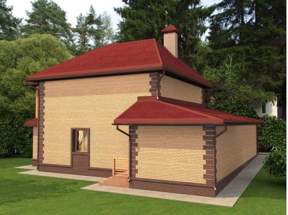 """Проект яркого двухэтажного дома """"Лайман"""" с балконом, террасой и гаражом (200 кв.м.) - Фасад 3"""
