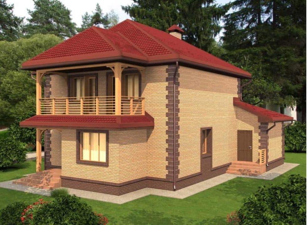 """Проект яркого двухэтажного дома """"Лайман"""" с балконом, террасой и гаражом (200 кв.м.) - Фасад 2"""