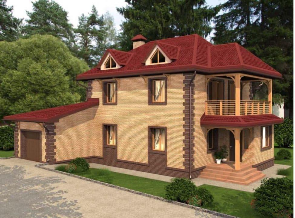 """Проект яркого двухэтажного дома """"Лайман"""" с балконом, террасой и гаражом (200 кв.м.) - Фасад 1"""