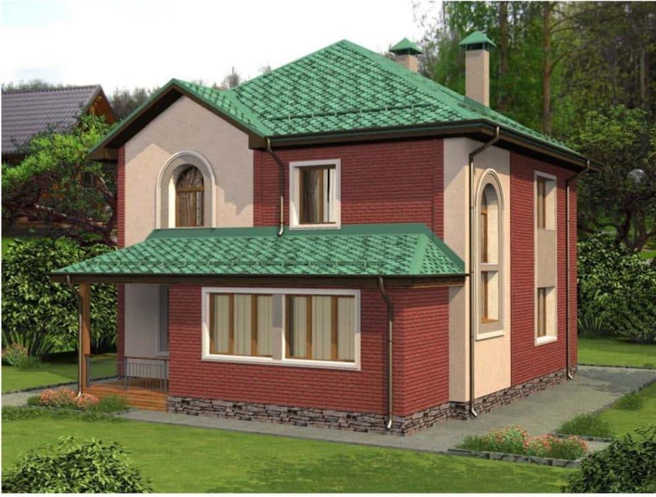 """Проект двухэтажного дома """"Туколор"""" (161 кв. м.) - Фасад 2"""