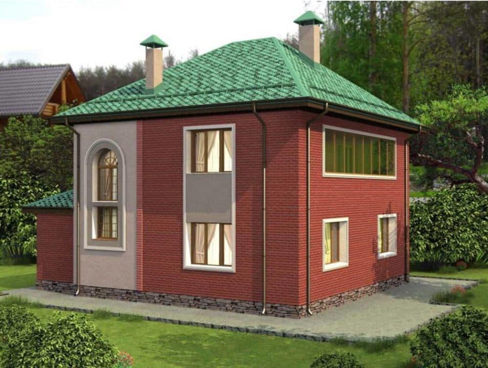 """Проект двухэтажного дома """"Туколор"""" (161 кв. м.) - Фасад 3"""
