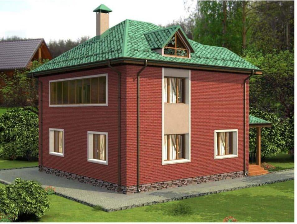 """Проект двухэтажного дома """"Туколор"""" (161 кв. м.) - Фасад 4"""