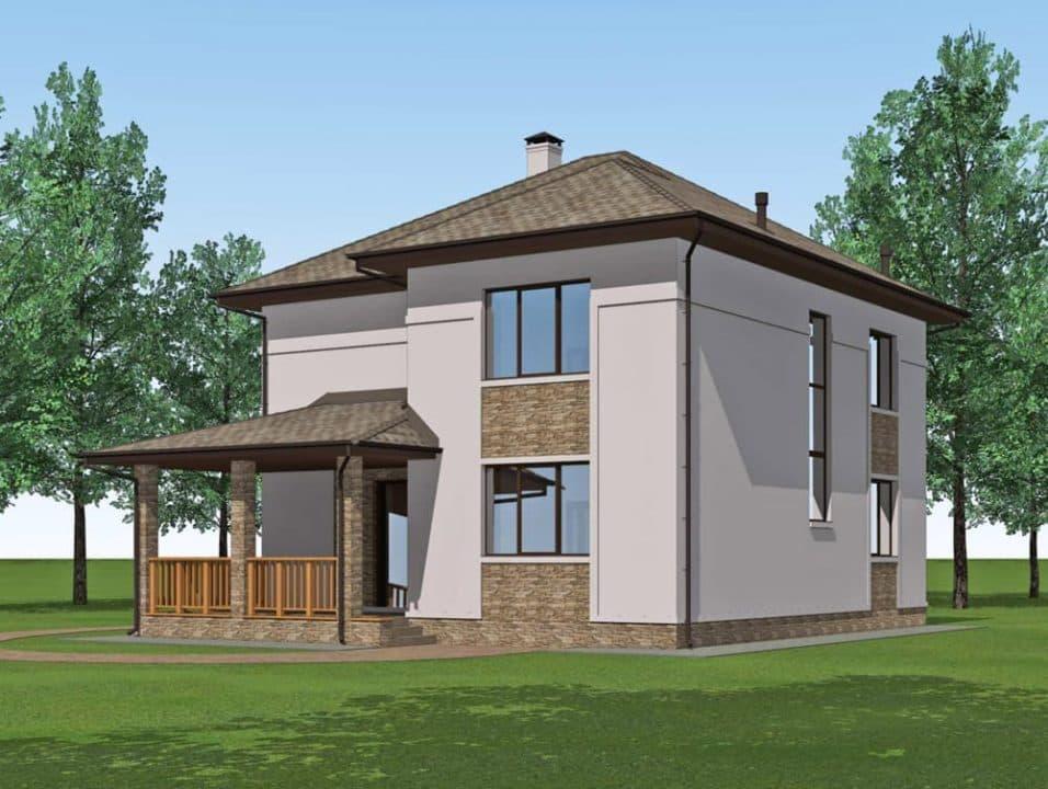 """Проект двухэтажного дома """"Миланд"""" с террасой и балконом (172 м2) - Фасад 4"""