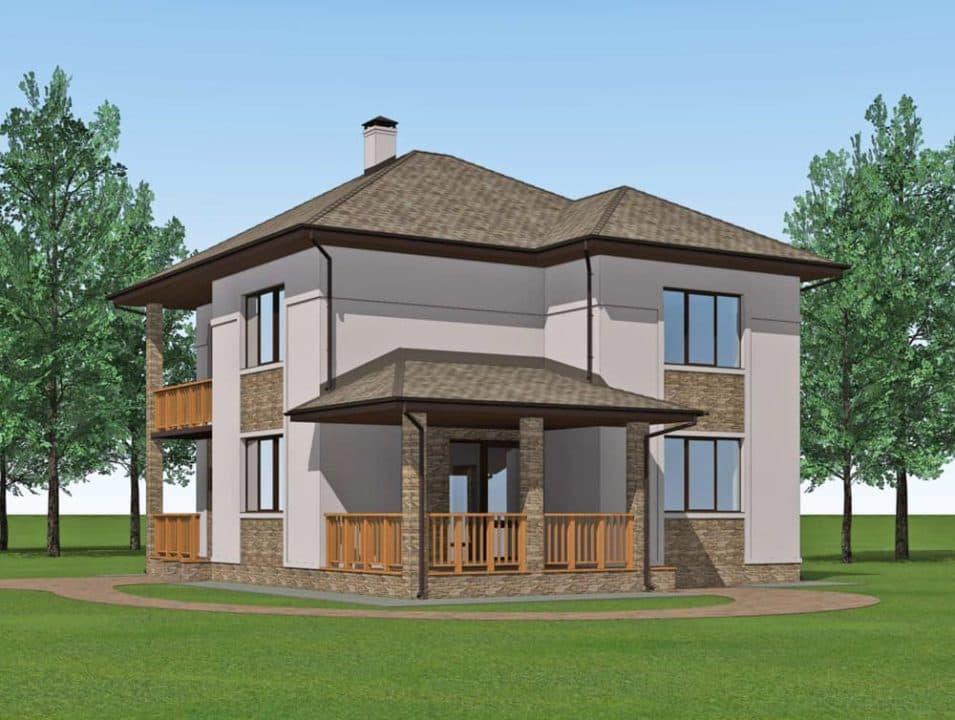 """Проект двухэтажного дома """"Миланд"""" с террасой и балконом (172 м2) - Фасад 3"""