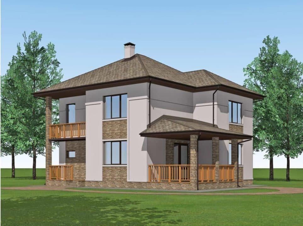 """Проект двухэтажного дома """"Миланд"""" с террасой и балконом (172 м2) - Фасад 1"""