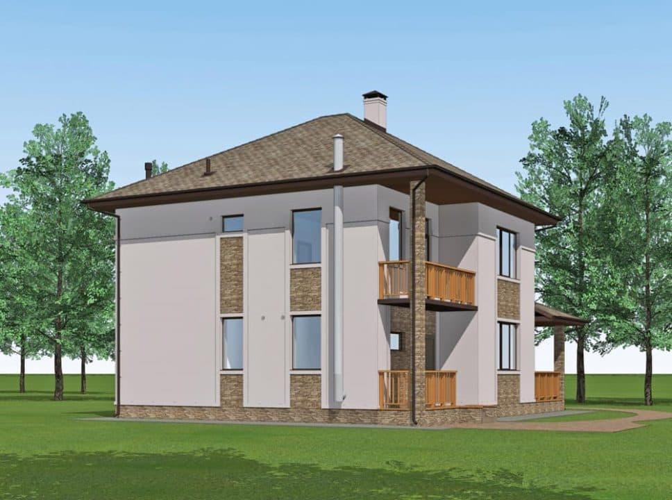 """Проект двухэтажного дома """"Миланд"""" с террасой и балконом (172 м2) - Фасад 2"""
