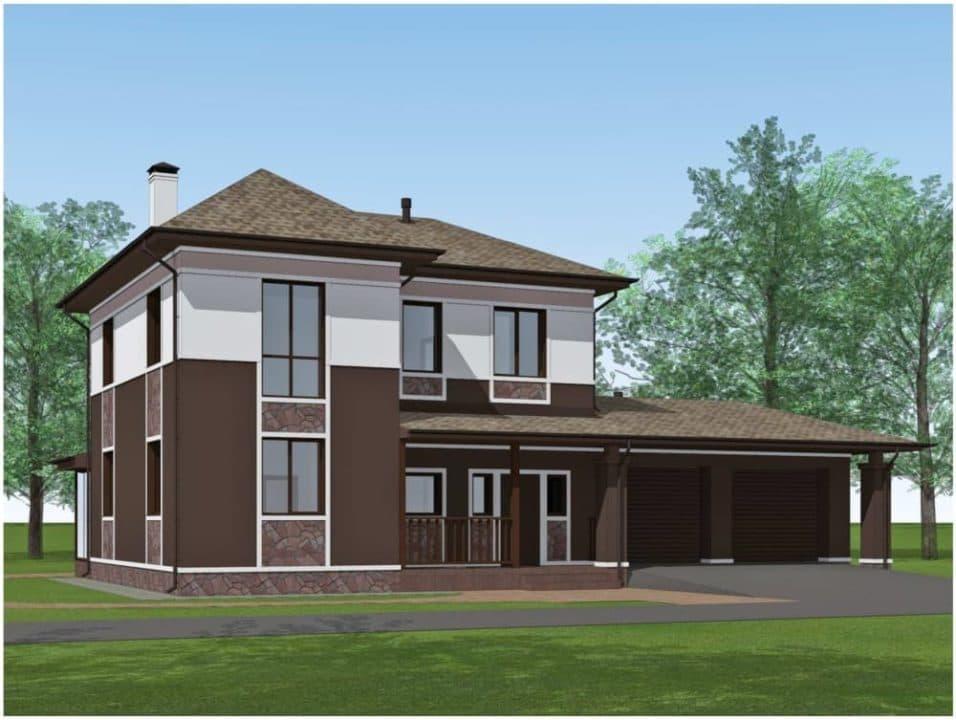 "Проект двухэтажного дома ""Доргар"" с фасадом из штукатурки (205 м2) - Фасад 2"