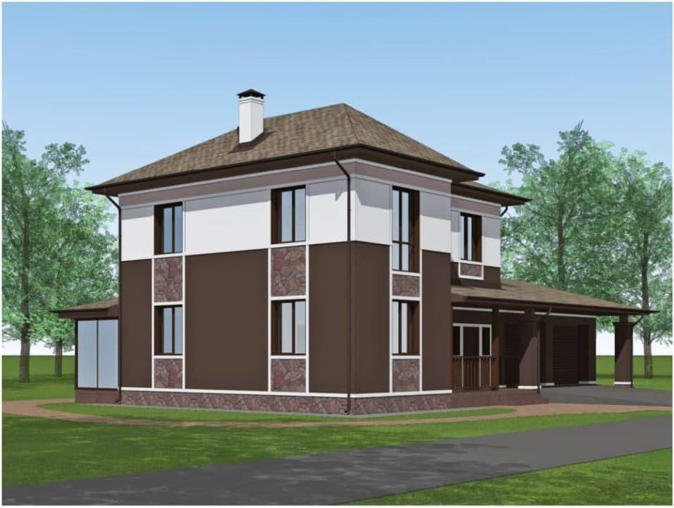 "Проект двухэтажного дома ""Доргар"" с фасадом из штукатурки (205 м2) - Фасад 3"