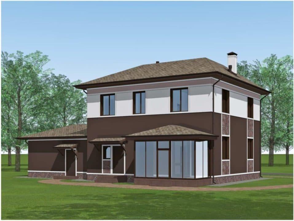 "Проект двухэтажного дома ""Доргар"" с фасадом из штукатурки (205 м2) - Фасад 4"