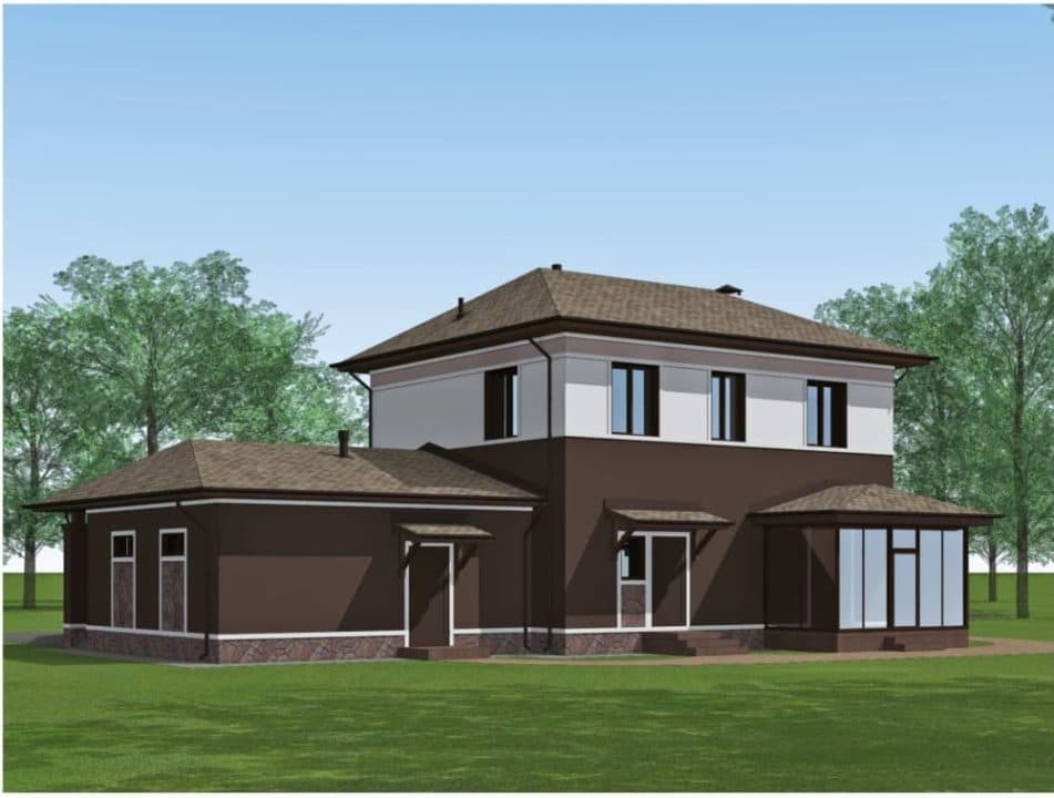 "Проект двухэтажного дома ""Доргар"" с фасадом из штукатурки (205 м2) - Фасад 5"